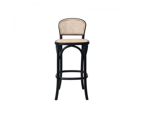 Bylba Rattan Stool (Black & Natural)