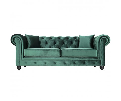 Chesterfield 3 Seater Sofa Velvet Green