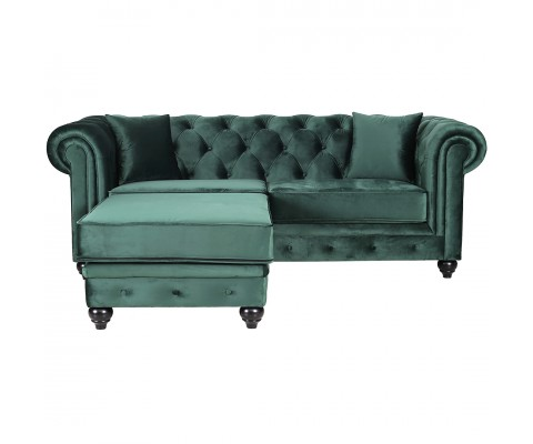 Chesterfield 3 Seater L Shape Sofa Velvet Green