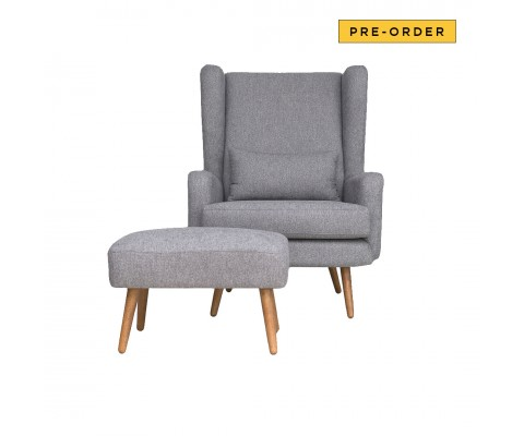 Martine Armchair with Foot Stool (Grey)