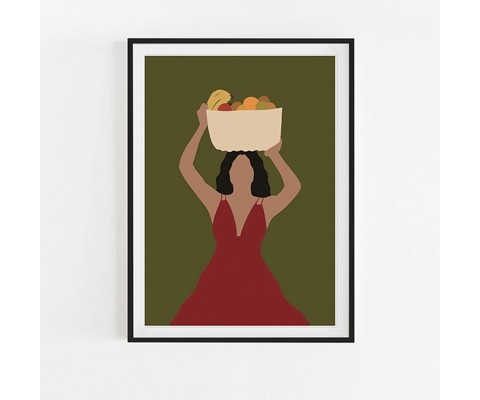 A4 The Girl With Fruit Basket Poster with Black Frame