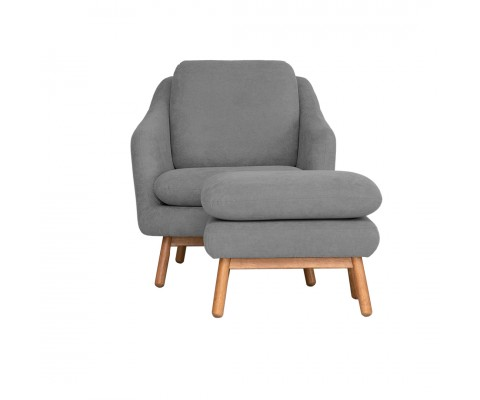 Anna Armchair with Foot Stool (Light Grey)