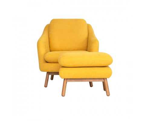 Anna Armchair with Foot Stool (Yellow Mustard)